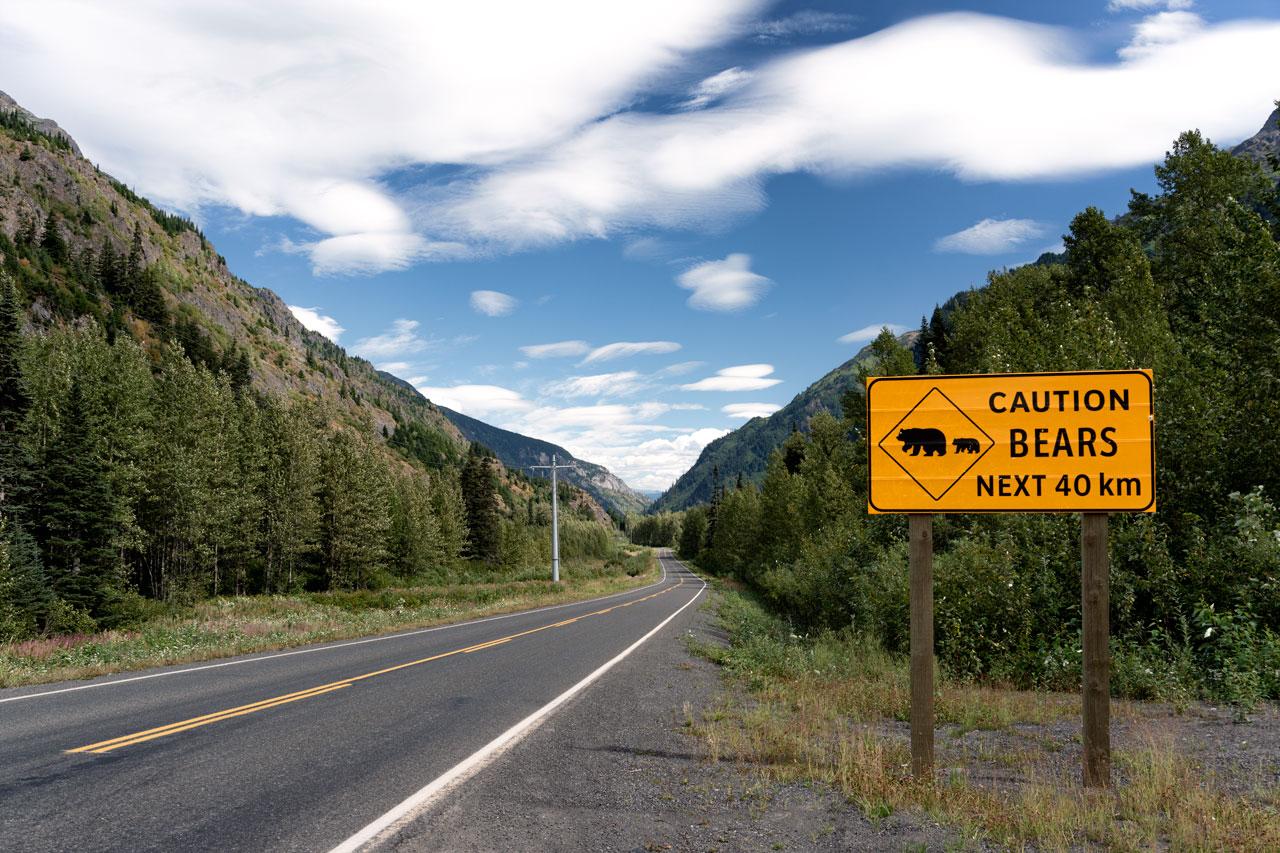 Caution Bears Schild in der Nähe von Hyder Alaska